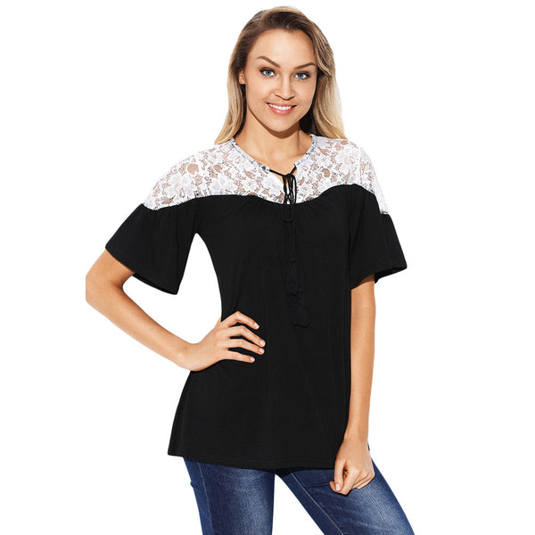 New sexy lace stitching collar ruffled short-sleeved large size top