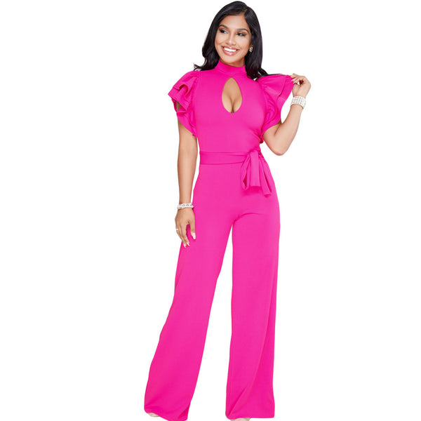 High-necked cutout double-layer ruffled short-sleeved back with zipper straight wide-leg jumpsuit