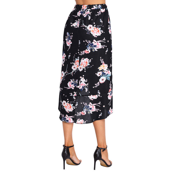 New elegant print high waist ruffled irregular skirt mini skirt