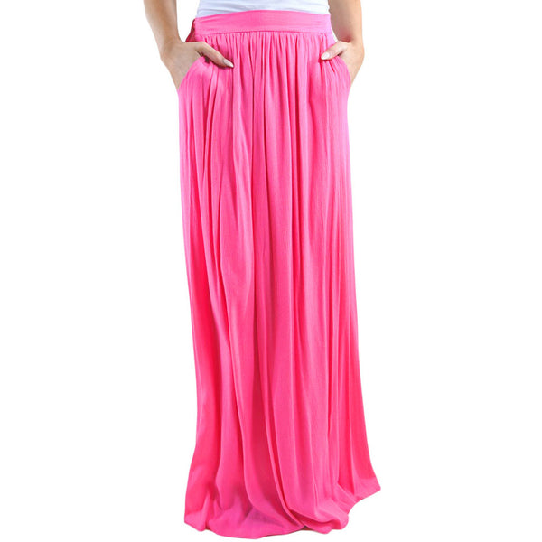 Maxi dress waist with telescopic lining pleated long size large size skirt