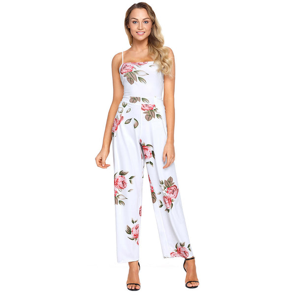 Chic printed sling one-sleeve sleeveless halter strap high waist wide leg jumpsuit