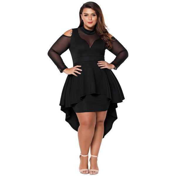 Large size stitching high neck long sleeve tuxedo skirt high waist dress