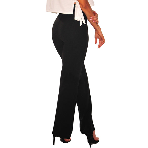 Fashion new versatile high waist waist led tie band width loose leg pants