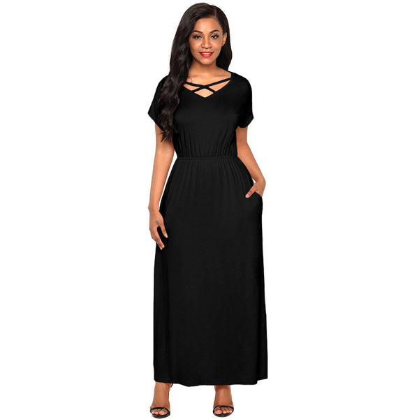New sexy cross led short sleeve high waist pocket long dress