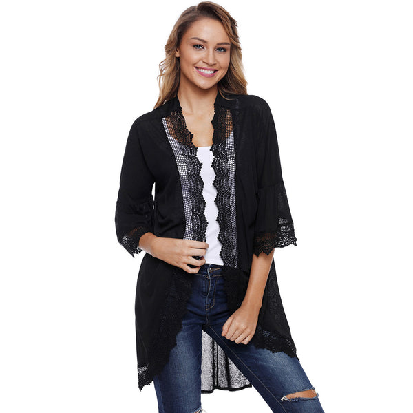 Fashion new wild cardigan chic lace stitching three-quarter sleeve coat