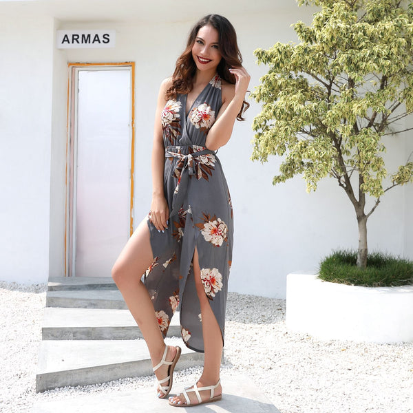 Fashion Print Halter V-neck Halter Strap Jumpsuit