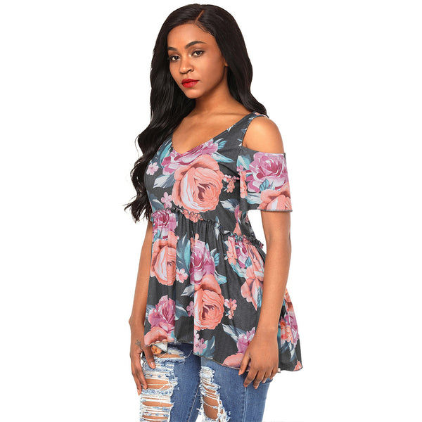 Elegant and charming printed sexy collar off-shoulder short-sleeved high-waist pleated women's large