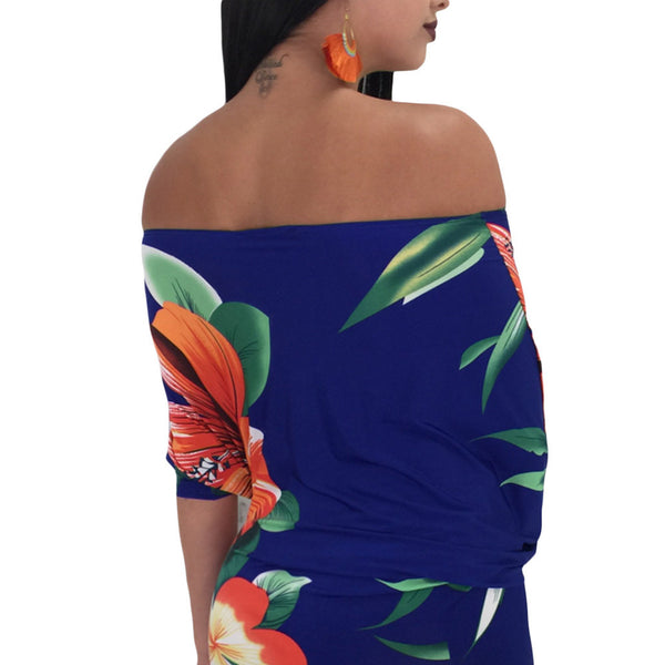 Exquisite printed sexy off-the-shoulder collar bat sleeve Slim bag hip dress