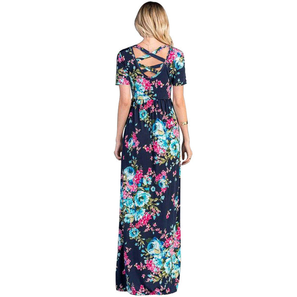 Printed round neck short sleeve high waist with pocket back cutout cross strap long dress