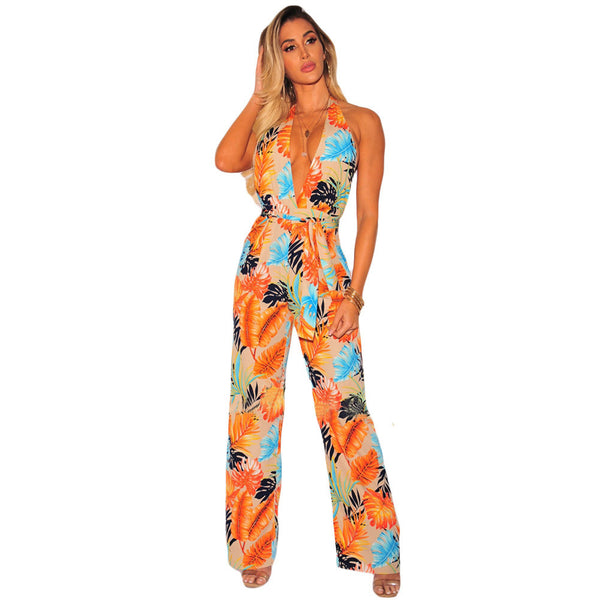 New Print Sexy Halter Neck Sleeveless High Waist Backless Loose Casual Jumpsuit