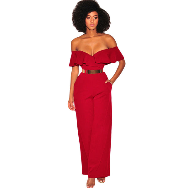 Sexy off-the-shoulder pleated ruffled collar short-sleeved high-rise large size jumpsuit