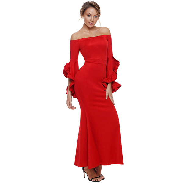 Maxi mini dress sexy tube top word collar trumpet long sleeve slim long dress