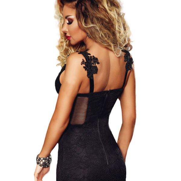New mini dress lace applique strap low collar sleeveless high waist slim bag hip dress