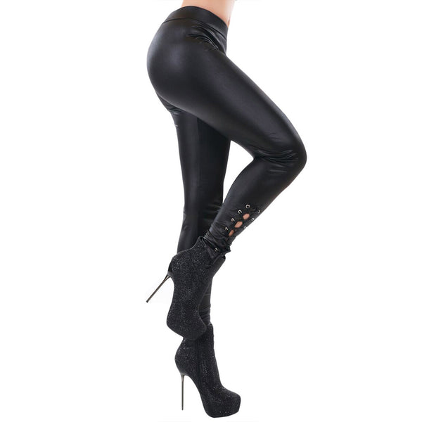 New black faux leather stretch tight-fitting cross-tie with hot stamping leggings