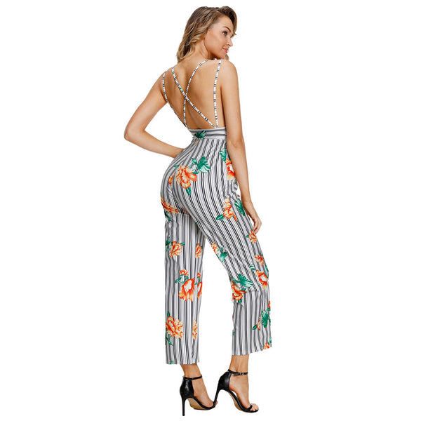 Women's Unique Striped Floral Print Sexy Hanging Strap Wide Legs Jumpsuit