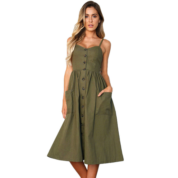 Sexy sling low collar button design pleated high waist with pocket word dress