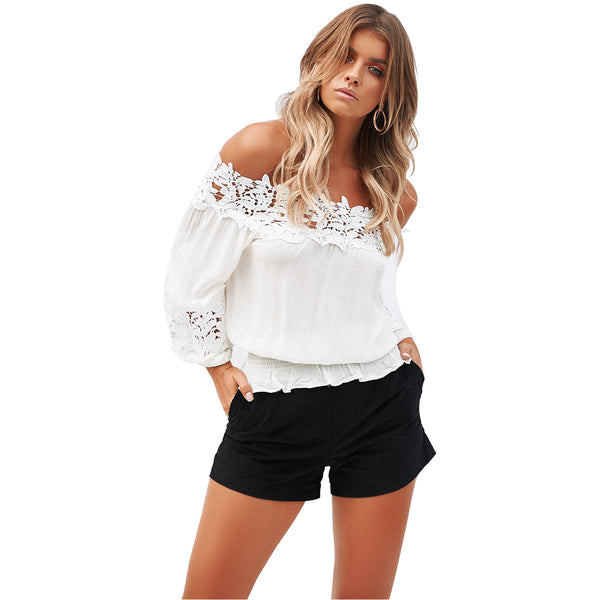 Wind lace stitching v-neck strapless loose long-sleeved shirt women