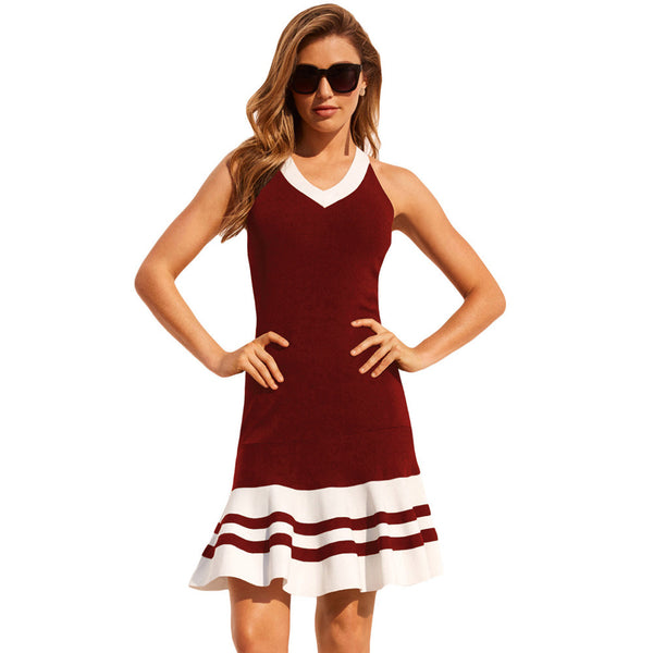 Chic Contrast Sexy Crossover Shoulder Sleeveless Side Zippered Pleated Mini Dress