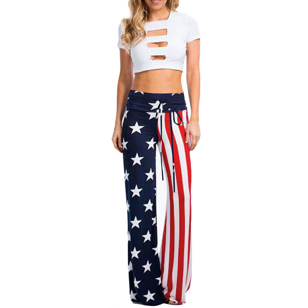 Casual style chic American flag printed high waist waistband large size wide leg pants