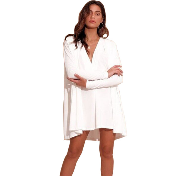 Wind sexy deep v-neck long-sleeved loose stitching skirt dress female
