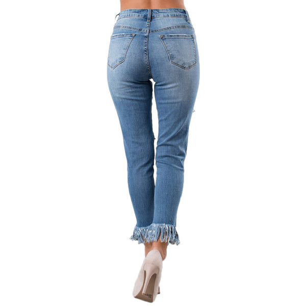 Fashion women's new casual hole high waist Slim XL jeans