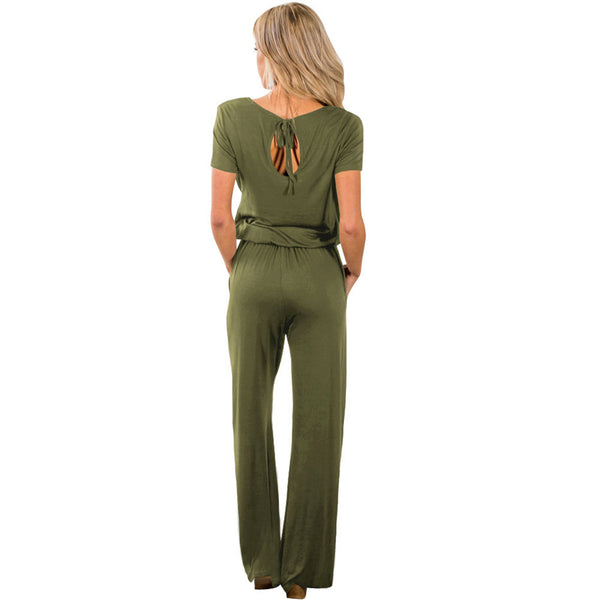 New women's collar short-sleeved high waist with elastic band pocket wide leg large size jumpsuit