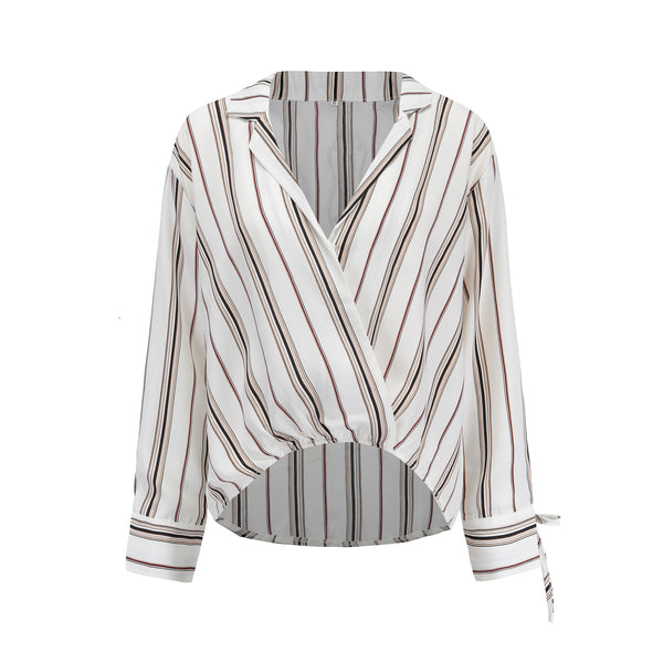 Sexy v-neck straight long-sleeved shirt striped boyfriend loose shirt