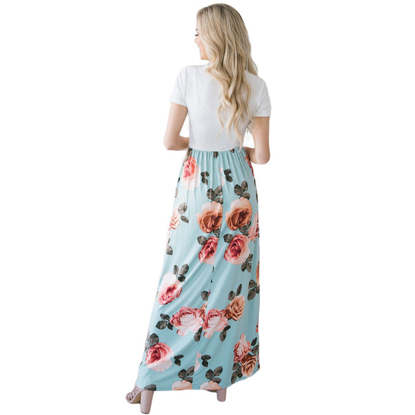 Printed collar short sleeve high waist with pocket long size dress