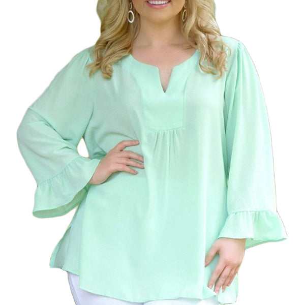 New collar unique pleated long sleeve loose XL top