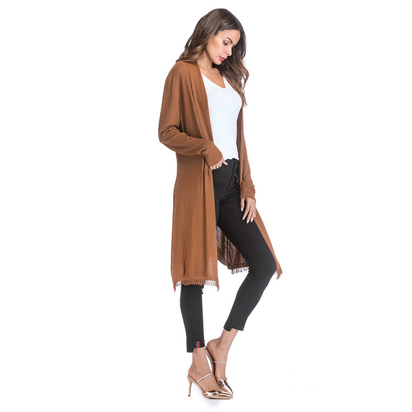Thin long-sleeved sweater fashion tassel solid color cardigan shawl coat