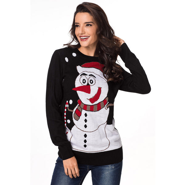 New snowman sweater round neck long sleeve slim large size women's sweater