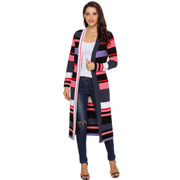New Knit Cardigan Multicolor Striped Open Long Sleeve Long Cardigan
