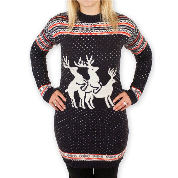 Christmas sequined reindeer knit round neck long-sleeved Slim XL women's sweater