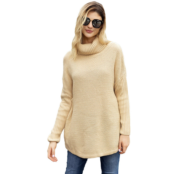New Solid Color Knit Turtleneck Pullover Long Sleeve Loose Women's Large Size Sweater