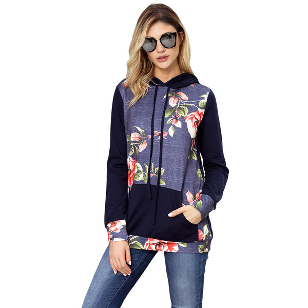 New printed hoodie pullover string long-sleeved kangaroo pocket women's large size sweater