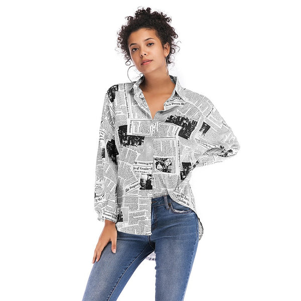 Fashion Newspaper Printing Women's Loose Long Sleeve Shirts