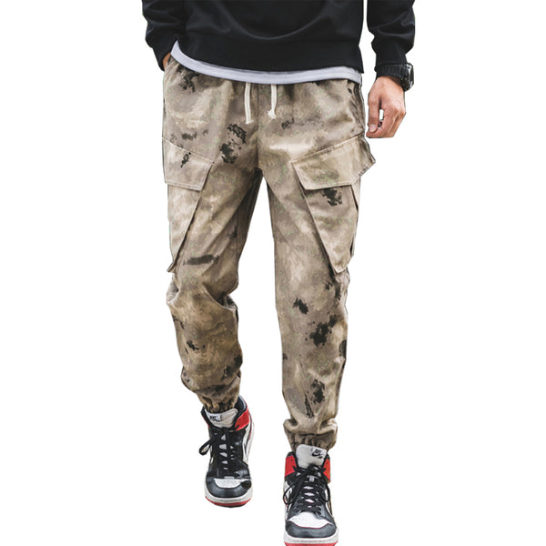 Casual cotton drawstring long black multi-pocket men's casual pants
