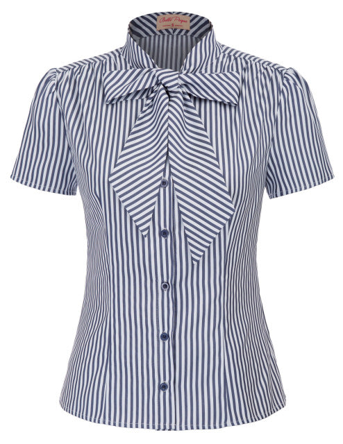 Retro fashion bow striped shirt