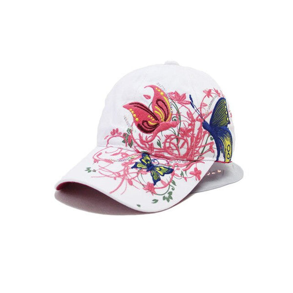High quality butterfly and flower embroidery fashion baseball cap