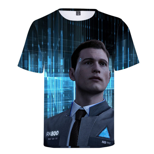 Role-playing fashionable 3D T-shirt with round collar