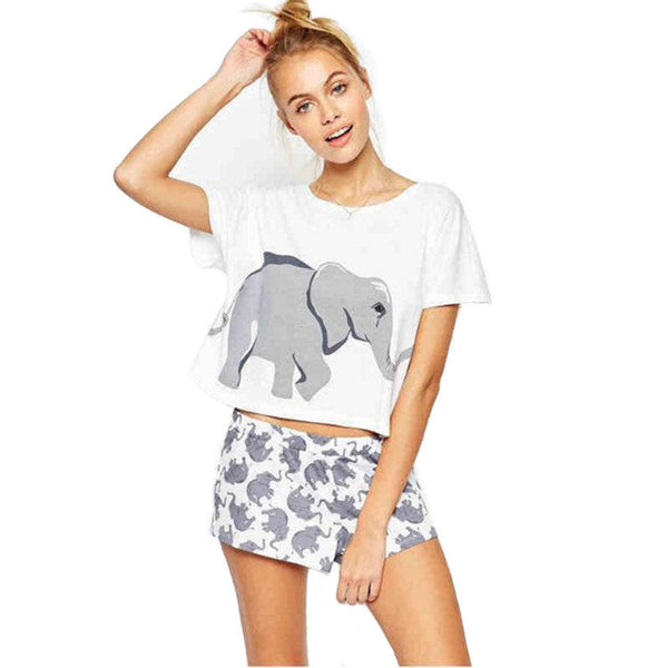 Print female round collar short sleeves before and after elephant pattern