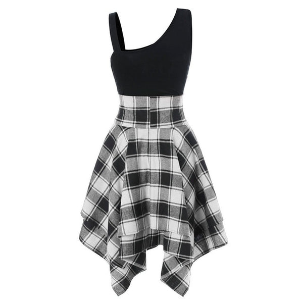 Fashionable Sleeveless Chequered Irregular Leisure Dresses