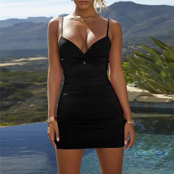 Deep V-shaped sling sleeveless shoulder-less dress
