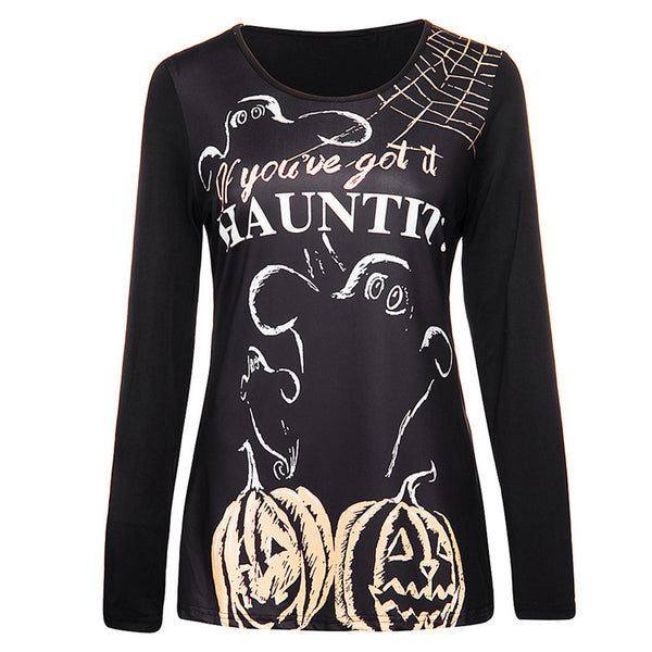 Sweatshirt Pullover Winter Fashion Women Halloween Costume Pumpkin Long Sleeve Printed Letter Tops Party Mujer Femme