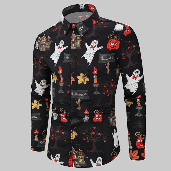 Clothing, Shoes & Accessories/Women's Clothing/Tops & Blouses---Men Shirt Casual Halloween Long sleeve Top Blouse Plus Size hawaiian shirt camisa masculina mise streetwear shirts