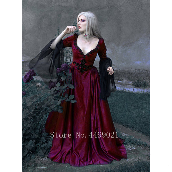 Clothing, Shoes & Accessories/Women's Clothing/Dresses---Medieval Vintage Woman Dress Sexy V-neck Lace Retro Renaissance Palace Princess Party Halloween High Waist Maxi Vestido