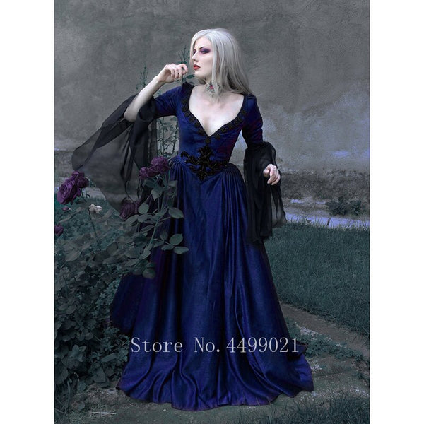 Medieval Vintage Woman Dress Sexy V-neck Lace Retro Renaissance Palace Princess Party Halloween High Waist Maxi Vestido