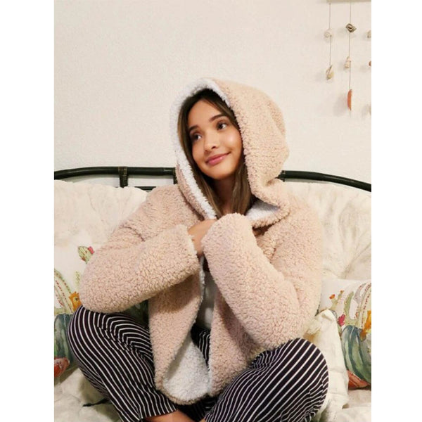 Clothing, Shoes & Accessories/Women's Clothing/Coats & Jackets---ZAFUL X Alexis Ricecakes Hooded Reversible Teddy Coat Front Women Cute Wide-waisted Sweet Winter
