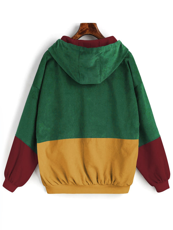 Clothing, Shoes & Accessories/Women's Clothing/Coats & Jackets---ZAFUL Color Block Hooded Corduroy Jacket Full Sleeve Patchwork Chic Jackets Streetwear Women Coats Autumn Winter