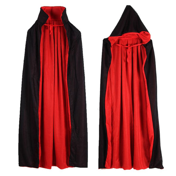 Clothing, Shoes & Accessories/Costumes & Reenactment Attire/Accessories/Capes & Cloaks---Vampire Cloak Cape Stand-up Collar Cap Red Black Reversible Halloween Costume Themed Party Cosplay Men Women
